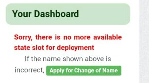 Sorry there is no more available state slot for deployment