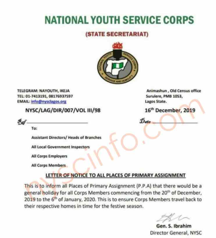 Nysc declares general holiday