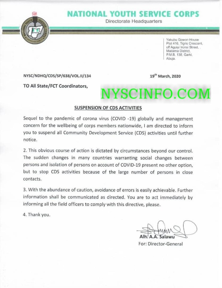 NYSC announces indefinite suspension of CDS activities nationwide
