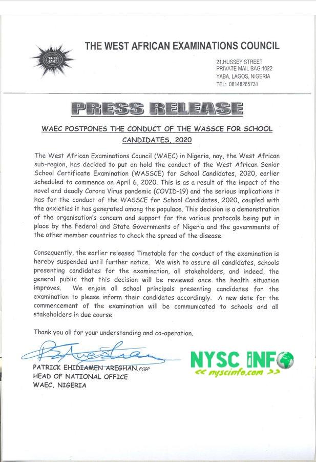 WAEC postpones 2020 examination indefinitely over coronavirus