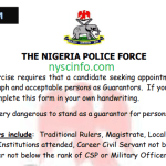 Nigeria Police Guarantors Form