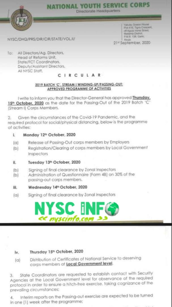 NYSC officially announces 2019 Batch 'C' Stream 1 POP date