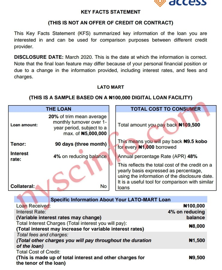 Access Bank LATO Mart Loan Application - How to Apply