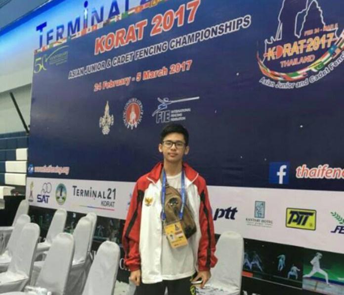 Nanda, saat mewakili Indonesia dalam bidang olahraga Anggar di Thailand