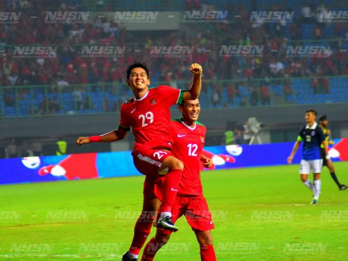 Septian David Maulana (29) setelah menjebol gawang lawan sekaligus memperkuat kemenangan dengan skor 3-1 melawan kamboja (10/5). Foto: NYSN Media/Ivan Anwar