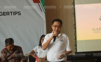 Pengurus Besar Persatuan Golf Indonesia (PB PGI) Bidang Pertandingan, Markus Anthony Chandra saat memberikan kata sambutan dalam acara launching Indogolf Passport di Restoran Manado Rarampa, Rabu 29/11/17.