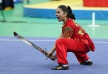 Aksi atlet Wushu, Juwita Niza Wasni di Kejuaraan Wushu. (sportourism.id)
