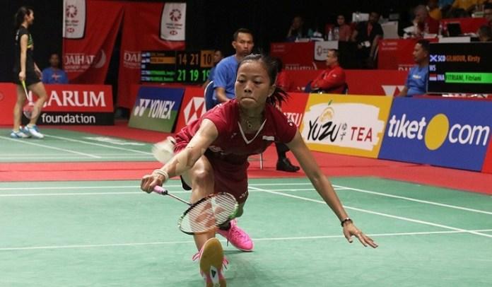 Pebulutangkis tunggal putri Fitriani tantang wakil Jepang Nozomi Okuhara di babak kedua All England 2018. (badmintonindonesia.org)