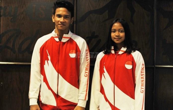 Dua atlet senam artistik junior Indonesia, Abiyu Rafi dan Trithalia, harus lolos babak 8 besar JAGAC 2018, agar bisa berangkat ke YOC di Argentina, Oktober nanti. (Pras/NYSN)