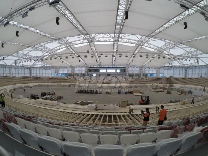 Proses pembangunan track Velodrome di Kawasan Rawamangun, Jakarta Timur, sudah mencapai 90,88 persen dan akan rampung total pada Juni mendatang. (Pras/NYSN)