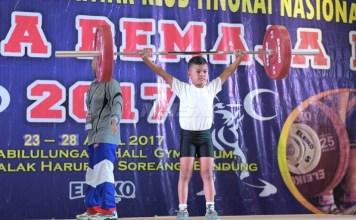 Kejuaraan Angkat Besi Antar Klub Tingkat Nasional Satria Remaja I 2017, di GOR Sabilulungan, Hall Gymnasium Stadion Jalak Harupat, Soreang, Bandung. (kemenpora.go.id)