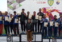 Kuartet Jawa Timur sukses merajai Nomor 4X400 Meter Estafet Mixed U-20 pada Kejurnas Atletik 2018, di Stadion Madya Senayan, Jakarta, Kamis (10/5). (Adt/NYSN)