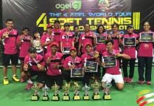 Tim Soft Tenis Indonesia berjaya di turnamen internasional The 4th Agel World Tour Soft Tennis Championships, di Pattaya, Thailand, 7-11 Juni 2018. (Humas PP Pesti)