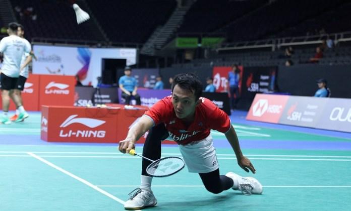 Ihsan Maulana Mustofa menjadi pemain Indonesia ke tujuh yang lolos ke babak perempat final kejuaraan Singapore Open 2018 HSBC BWF World Tour Super 500. (Humas PBSI)