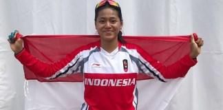 Atlet Balap Sepeda Indonesia, Tiara Andini Prastika tampil di Final Run Women Elite Downhill, pada Asian Games 2018 di Khe Bun Hill, Subang, Jawa Barat, Senin (20/8). Tiara meraih emas pada nomor tersebut (Dok. CDM Asian Games 2018)