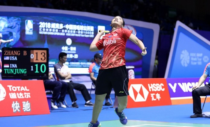 Gregoria Mariska Tunjung menjadi salah satu wakil yang tersisa bagi Indonesia, melaju ke babak perempat final perempat final China Open 2018 BWF World Tour Super 1000, di Olympic Sports Center Xincheng Gymnasium, Changzhou. (Humas PBSI)