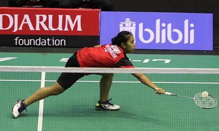 Aisyah Sativa Fatetani (PB Djarum Kudus) sukses menaklukan tunggal pertama PB Suryanaga Wima Surabaya, Anisah Puspa Widia Purnama, 21-4, 21-7, di Superliga Junior 2018, Selasa (16/10). (PB Djarum)