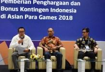 Menteri Pemuda dan Olahraga Imam Nahrawi saat memberikan informasi terkait bonus atlet dan pelatih Asian Para Games 2018. (Rizal/NYSN)