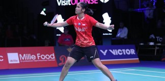Tunggal putri Indonesia, Gregoria Mariska Tunjung, gagal merebut tiket final Denmark Open 2018. Jorji, sapaannya takluk dari wakil India, Saina Nehwal, pada semifinal Denmark Open 2018, pada Sabtu (20/10). (Humas PBSI)
