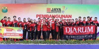 PB Djarum Kudus akhirnya mempertahankan gelar kejuaraan bulutangkis nasional antar klub beregu junior 'Pembangunan Jaya Cup 2018', di GOR Jaya Raya, Ciputat, Tangerang Selatan, Banten, usai membungkam perlawanan PB Exist Jakarta, pada Sabtu (27/10), dengan skor telak 3-0. Ini gelar kedua bagi sang juara bertahan. (pbdjarum.com)