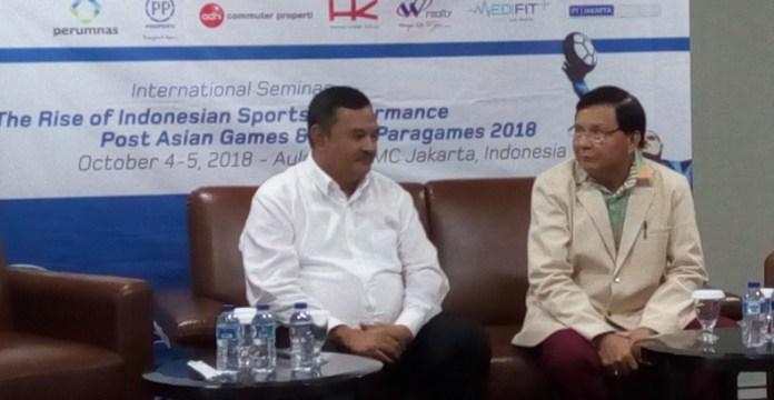 Prof. Dr. Ahmad Sofyan Hanif, M.Pd, Wakil Rektor 3 Bidang Kemahasiswaan Univeritas Negeri Jakarta (kiri), menyebut dunia pendidikan memiliki peranan penting dalam peningkatan prestasi olahraga Indonesia. (Adt/NYSN)