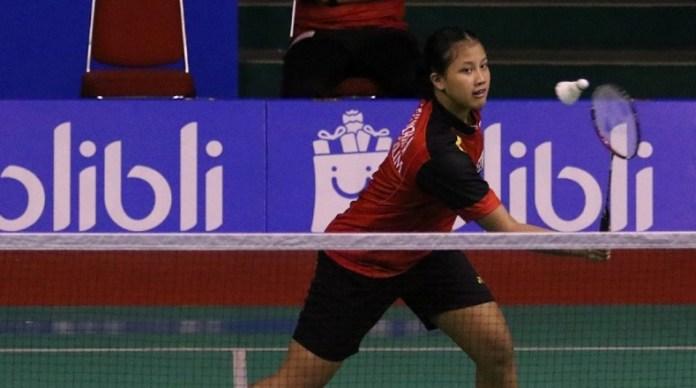 Aisha Galuh Maheswari, tunggal putri yang diturunkan pada partai kelima, berhasil menggenapi kemenangan tim putri U-17 PB Djarum menjadi 4-1 atas Pb Jaya Raya Jakarta, pada Kejuaraan Superliga Junior 2018, di GOR Djarum, Magelang, pada Kamis (18/10). (PB Djarum)