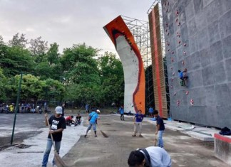 Venue di Solo Sport Climbing Center, Kompleks Stadion Manahan, Solo, Jawa Tengah, siap digunakan pada Kejuaraan Nasional (Kejurnas) XVII Panjat Tebing 2018, yang mulai berlangsung pada 27 November-2 Desember 2018. (Dok. Humas FPTI)