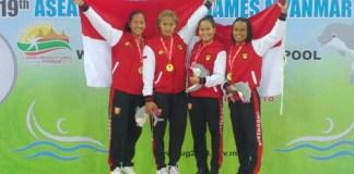 Tim renang Indonesia sukses menyabet enam belas medali emas, sembilan perak, dan satu perunggu, hingga Jumat (14/12), pada ASEAN University Games 2018 (AUG), yang berlangsung di Myanmar International Convention Center 2, Naypyitaw, Myanmar, 8-12 Desember. (PRSI)