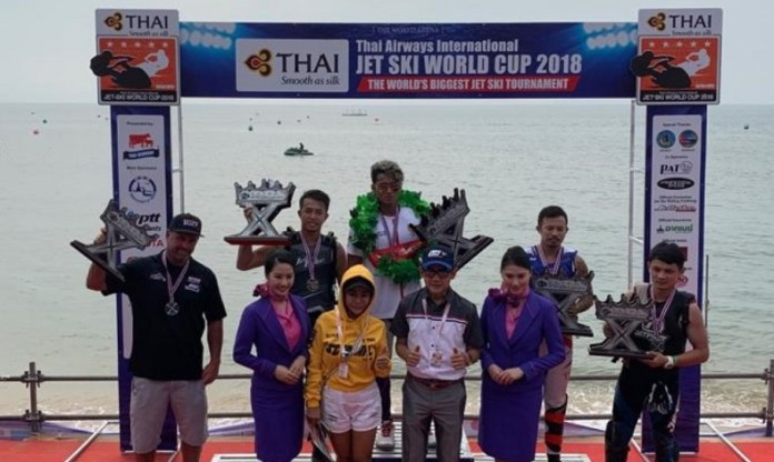Peraih emas Asian Games 2018 Aqsa Sutan Aswar, kembali membuktikan diri sebagai yang terbaik, dalam kejuaraan dunia yang bertajuk The Thai Airways International Jet Ski World Cup 2018, di Jomtien Beach, Pattaya, Thailand, pada 5-9 Desember. (jpnn.com)