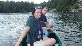 Melyssa Smith and Dan Munsell monitor water quality on Lake Minnewaska.