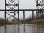 Under the bridges for a creek level view.