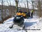 Snowmobiling at Lake Taghkanic State Park. Photo by OPRHP.