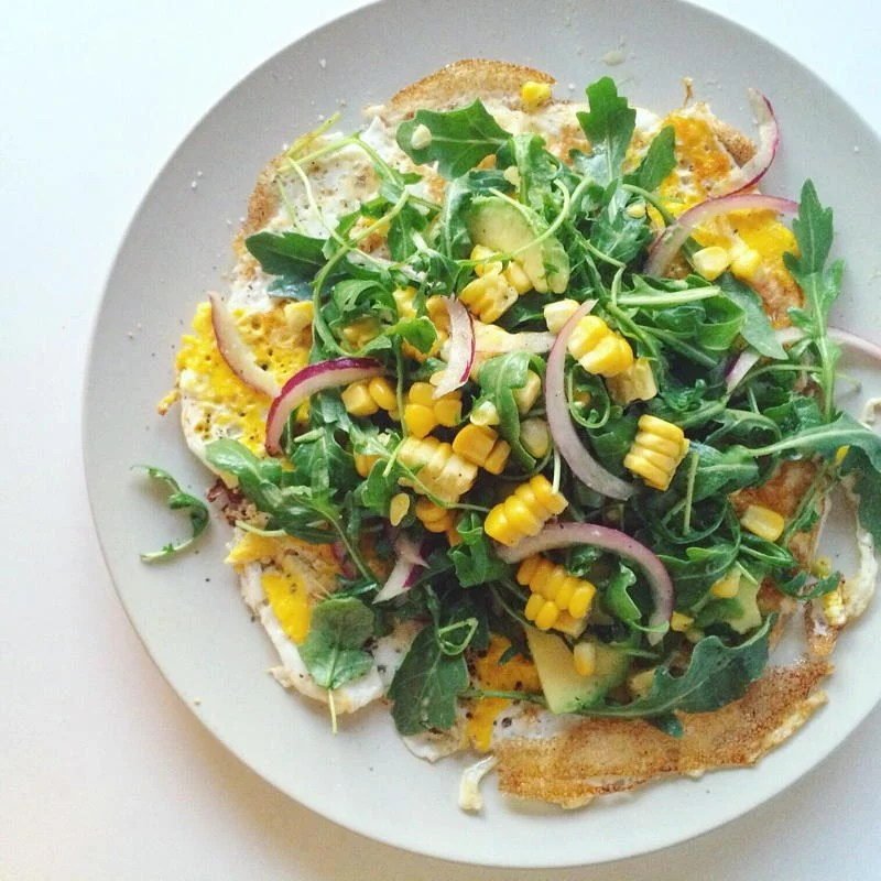open faced omelette with arugula, corn and avocado salad | www.nyssaskitchen.com