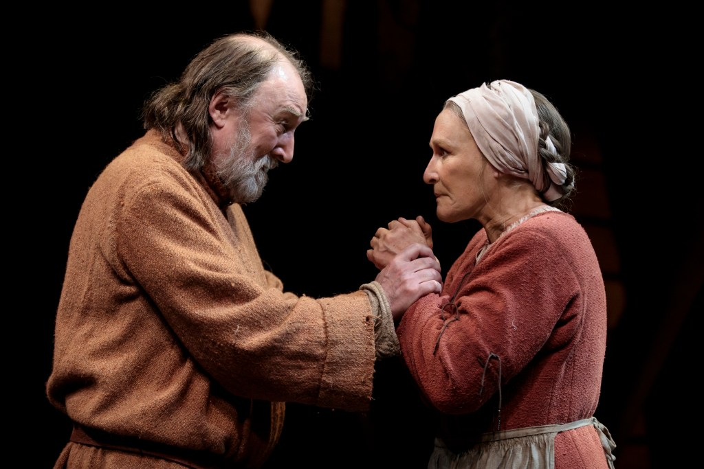 Dermot Crowley, left, and Glenn Close in <i>Mother of the Maid.</i> Ohoto: Joan Marcus.