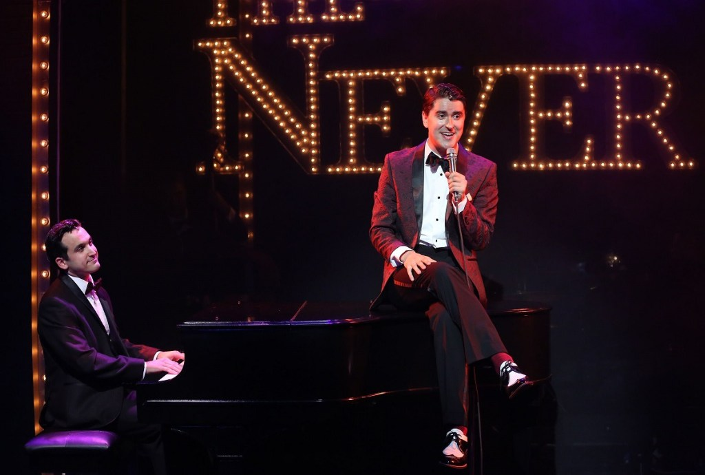 <I>Jeremy Cohen and Sam Bolen perform in Midnight at the Never Get. Photo: Carol Rosegg</I>