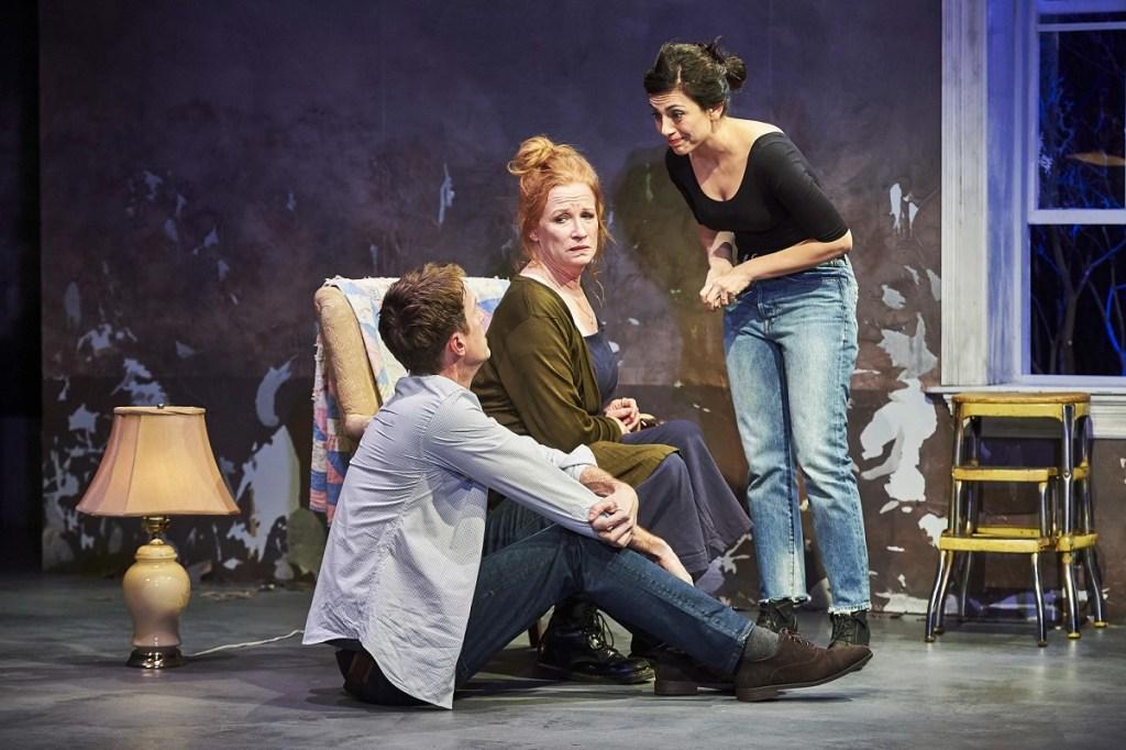 Adam Harrington, Johanna Day and Marjan Neshat perform in Joan. Photo: Robert Altman