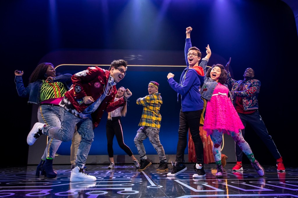 George Salazar, Gerard Canonico, Will Roland (in the hoodie) and Stephanie Hsu are among the leads in Be More Chill. Photo: Maria Baranova
