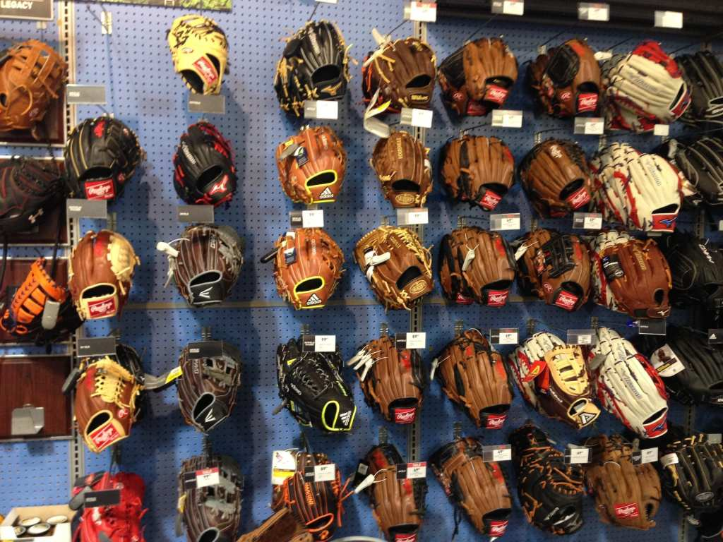 Gloves in sporting goods store.