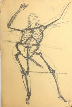 Skeleton Dancing, From the Front, nd, graphite on paper, 9 13-16 x 6 5-8 in