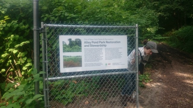 Entrance to the Alley Pond natural area and Christina Pedros, one of Marty's superb hosts during the exchange.
