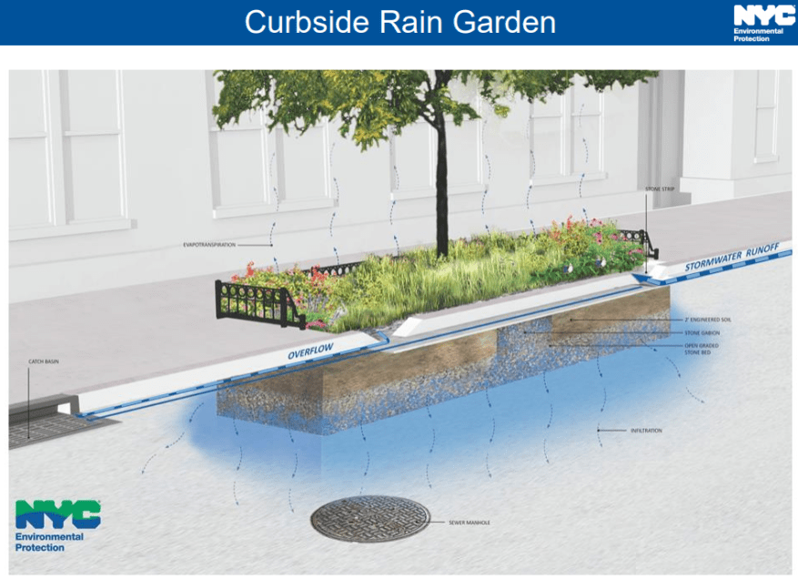 How NYC curbside rain gardens are constructed