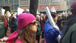 Photo of Amanda Pizzuti and Mike Corbett in the Women's March on New York City