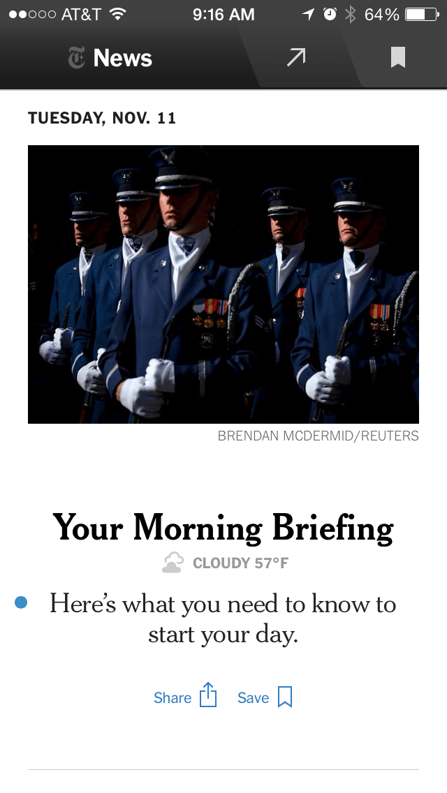 Fans Of Nyt Nows Morning Briefing Tip Sheet Can Now Sign Up To Receive It In Their Email Inbox Or Access It Via The New York Times News App For Iphone