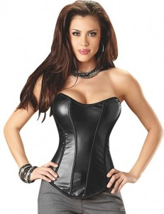 Leather look corset