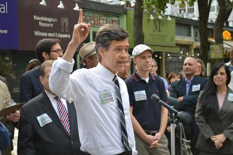 State Senator Brad Hoylman addresses a rally opposing NYU's 2031 expansion plan on Wednesday, Sept. 24, 2014.