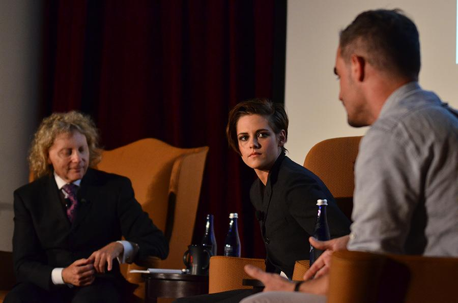 Kristen Stewart sits on stage at Tishman Auditorium in the NYU School of Law on Oct. 7.