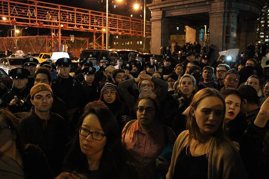 Protesters gather near the Williamsburg Bridge.