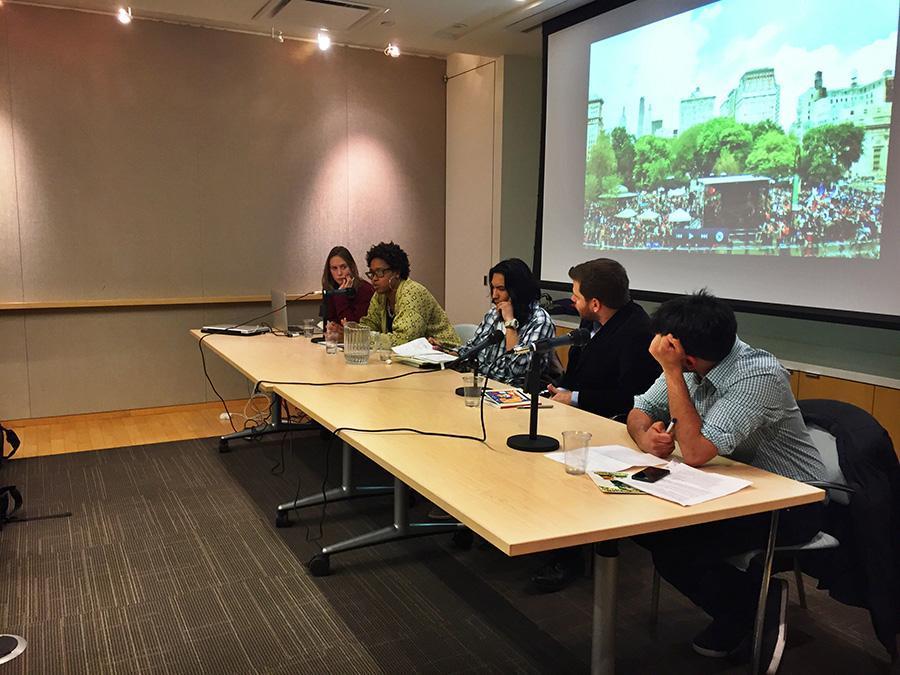 Laura Gottesdiener, Michelle Crentsil, Diego Ibanez, Michael Gould-Wartofsky, Bhaskar Sunkara, from left, discuss Gould-Wartofsky's new book.