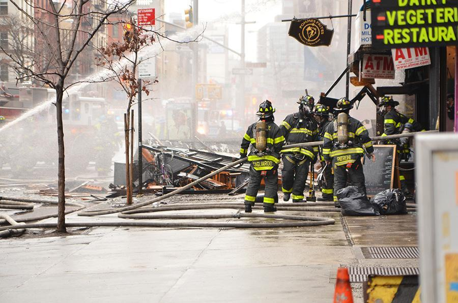 Firefighters after an explosion by St. Marks Place. Soon firefighter may be trained for similar situations with ALIVE (Alex Bazeley)