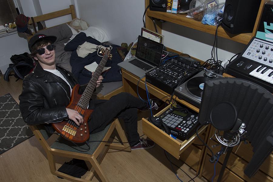 Harrison Holmes set up a studio in his Rubin dorm room.